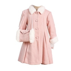 Trilogi Collection Girl's Pink Florencia Faux Fur Coat