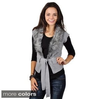 Adi Designs Junior's Faux Fur Collar Tie Waist Sweater