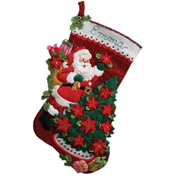 Bucilla 'Santa Poinsettia Tree' Stocking Felt Applique Kit