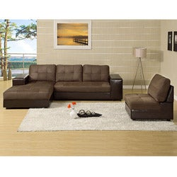 Furniture of America Holden 3-piece Sectional with Chaise and Armrest Storage