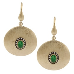Rivka Friedman 18k Gold Overlay Esha Green Quartzite Dangle Earrings