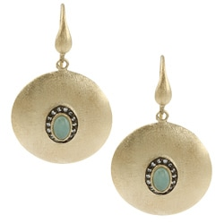 Rivka Friedman 18k Gold Overlay Esha Caribbean Blue Quartzite Earrings