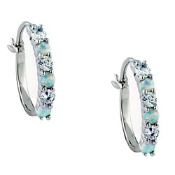 Sterling Silver Created Opal and Cubic Zirconia Hoop Earrings