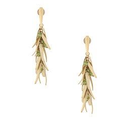 Rivka Friedman Gold Overlay Peridot Accent Chili Dangle Earrings
