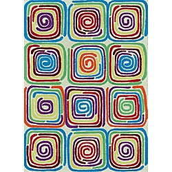 Peony Ivory/ Multi Geometric Rug (7'6 x 9'6)