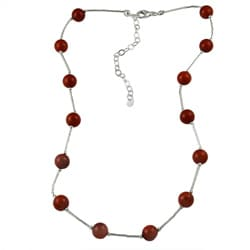 Southwest Moon Sterling Silver Red Coral Station Necklace