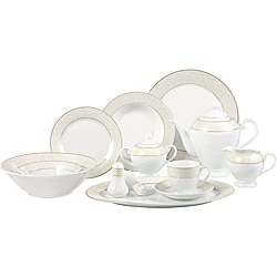 Lorenzo Gold and Pearl 57-piece Porcelain Dinnerware Set