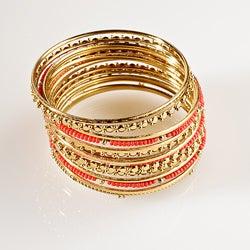 Goldtone Red Bead Bangle Bracelet Set