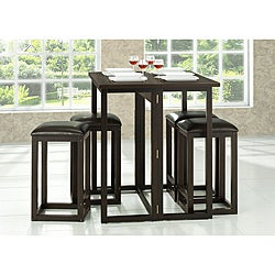 Leeds Brown Wood Collapsible Pub Table Set