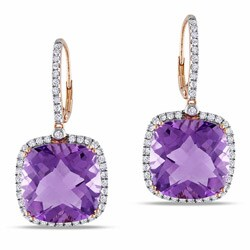 Miadora Signature Collection 14k Pink Gold Amethyst and 7/8ct TDW Diamond Earrings (G-H, SI1-SI2)