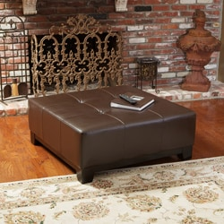 Christopher Knight Home Darlington Chocolate Brown Leather Ottoman
