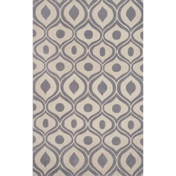 "Hand-tufted Modern Waves Grey Rug (5'0 x 7'6"")"