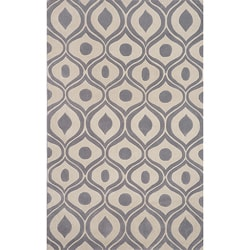 Modern Waves Grey Hand-Tufted Rug (8' x 10')