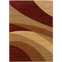 LNR Home Opulence Red/ Beige Abstract Area Rug (5'3 x 7'5)