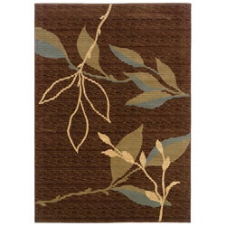 Brown/ Green Floral Area Rug (9'2 x 12'5)