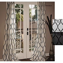 Casa Flocked Faux Silk 96-inch Window Panel