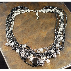Peyote Bird Designs Onyx Layered Chain and Bead Necklace (China)