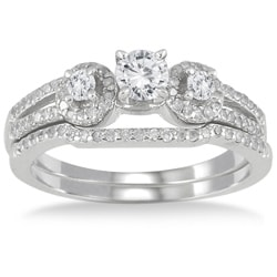 10k White Gold 3/4ct TDW Diamond Bridal Ring Set (I-J, I1-I2)