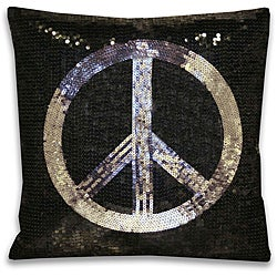 Sequin Peace Sign Decorative Pillow