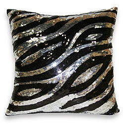 Sequin Zebra Decorative Pillow