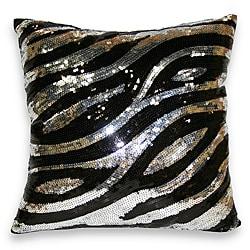 Sequin Zebra Decorative Pillow