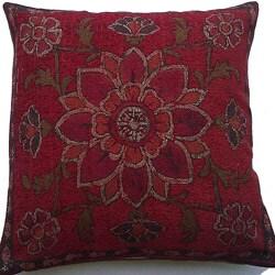 Belgium Woven Floral Decorative Pillow