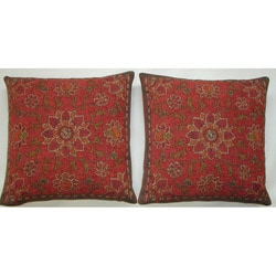 Belgium Woven Floral Decorative Pillows (Set of 2)