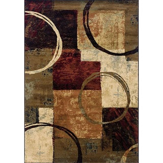 Blocks and Rings Brown/Black Area Rug (3'10 x 5'5)