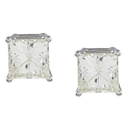 14k White Gold Princess-cut Moissanite Stud Earrings