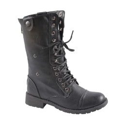 Sweet Beauty Women&#39;s Mid-calf Lace-up Boots