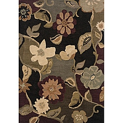 Messina Black/ Purple Transitional Area Rug (3'10 x 5'5)