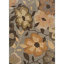 Messina Grey/ Gold Transitional Area Rug (6'7 x 9'6)