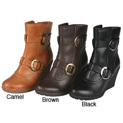 Story Women's Buckled Wedge Booties
