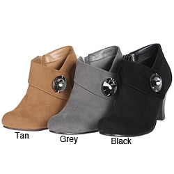 Story Women&#39;s Suede Ankle Rhinestone Embellished Bootie