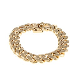 Sterling Essentials 14k Gold over Bronze 7.25-inch Cuban Link Bracelet