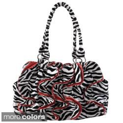 Journee Collection Women's Ruffled Zebra Print Slouchy Satchel