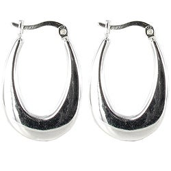 Sunstone Sterling Silver Polished Hoop Earrings