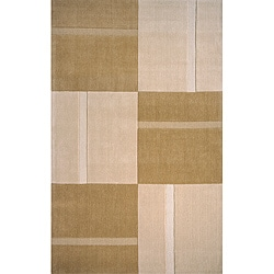 Hand-tufted Manhattan Large Blocks Beige Wool Rug (2'3 x 3'9)