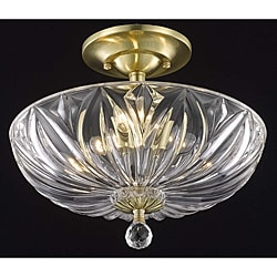 Crystal 3-light Gold Flush-mount Chandelier
