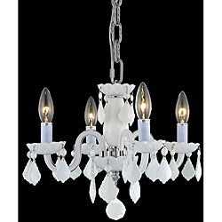Crystal 4-light White Chandelier
