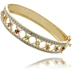 Gem Jolie 14k Gold Overlay Multi-gemstone and Diamond Accent Bracelet