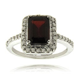 Dolce Giavonna Silverplated Garnet and Diamond Accent Ring