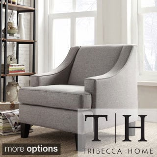 TRIBECCA HOME Winslow Taupe Concave Arm Modern Accent Chair