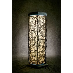 Black Steel and Faux Wicker Tall Outdoor Solar Lamp