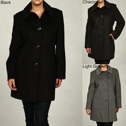 Jones New York Women's Plus Size Wool Blend Coat