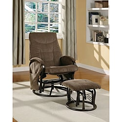 Brown Chenille Swivel Rocker Recliner and Rocker Ottoman
