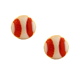 Gioelli Gold over Silver Red and White Baseball Earrings