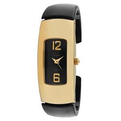 Viva Women's Goldtone Black Cuff Watch