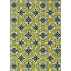 Green/Ivory Outdoor Area Rug (3'7 x 5'6)