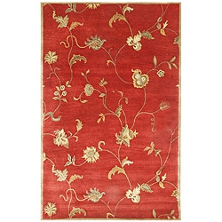 Hand-tufted Diana Red Floral Wool Rug (9'6' x 13'6)